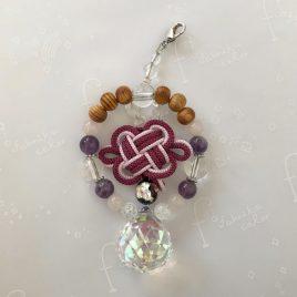 屋久杉ビーズと天然石のサンキャッチャー【①紫】アジャスター付き